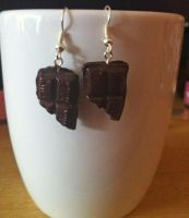 Mmm Chocolate Earrings by angel-kitty