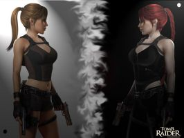 Lara vs Lara's Shadow by Blackfire18