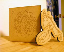 Laser-Etched Wood Cartoons by Maki-Tak