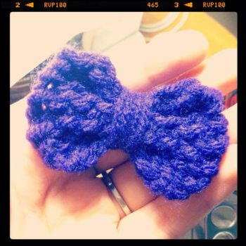 Purple Knitted Bow by hollyftw
