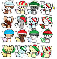 Christmas Adoptables by CocoaAkeelahKitten