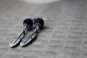 Purple and Silver Feather Dangle Earrings by Clerdy
