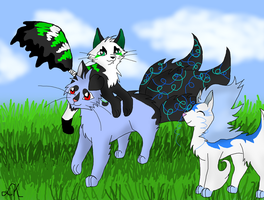 CE : Haiko, Melody and Ninjo playing  together by Lizzara