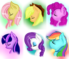 Mane 6 portaits by Amberony