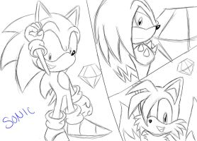 Team Sonic Sketch by SonicForTheWin2
