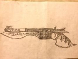 Slide action revolver with Bowie blade by wyatt1001