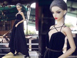 5th Atelier: Suede Drape Dress by Ylden