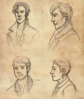 Sherlock and John sketches by AlbinoNial