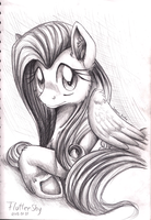 Pencil Portrait - Fluttershy by InuHoshi-to-DarkPen