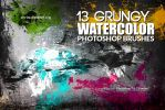 13 Grungy Watercolor Photoshop Brushes by env1ro
