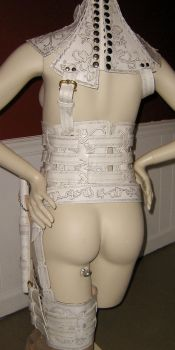 Back view of White Denna Mord-sith Armor by ValkyrieLeather