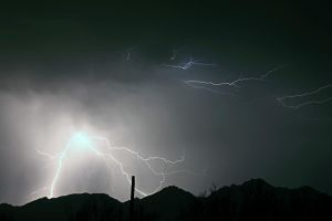 Lightning Over The Catalina Mountains by RayM0506