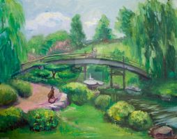 The Bridge, oil, 16 x 20 inch by Radiant-Art