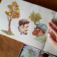 Doodlenauts Watercolor Sketches by taho