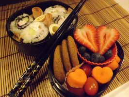 Sushi and Hearts Bento by Scarletts-Fever