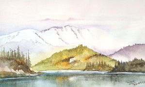 Mountains-from-the-valley-watercolour-painting by ianmckendrick