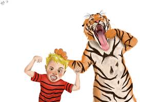 Calvin and Hobbes by Hugobrine