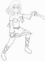 Warrior Girl Lineart by CloudRider99
