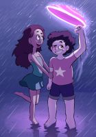 Steven and Connie go for a walk in the rain. by mr-dec