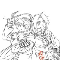 Elric brothers Line-art by Chengggg