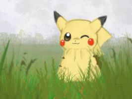 Pikachu Wallpaper- Foggy Field by KristynJanelle