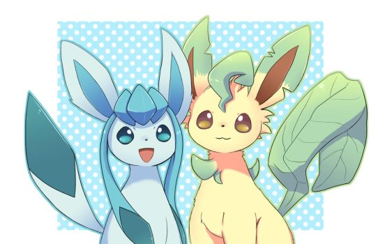Glaceon and Leafeon by asdfg21