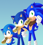 3 Sonics and Chilidogs by HeroineMarielys