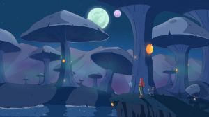 Giant mushrooms swamp by Valinhya