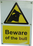 Beware Of The Bull Warning sign PNG by WelshDragonStockNArt