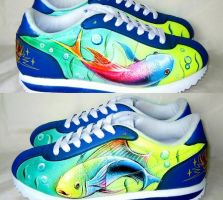 HAND PAINTED TATTOO KOI NIKE by augurlee