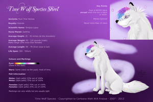 Time Wolf Species Sheet by Kittycatglow