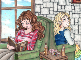 Hermione and Luna Quiet Time by snow-white-kt