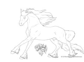 Free Friesian lineart by FlareAndIcicle