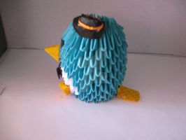 Perry the Platypus 3D Origami= Finished, angle 2 by Nryssa7247