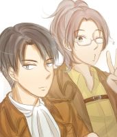 Levi and Hanji by irodorinoaya