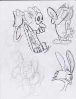 ren and stimpy drawins by lucariotails95