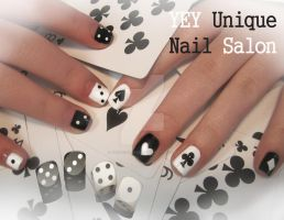 poker and dice nail by YEYUniqueNail