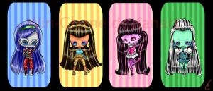 monster high chibi set by just-call-me-C
