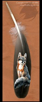 Grey Fox painted feather by Nambroth