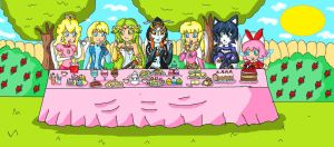 nintendo girls tea party by ninpeachlover