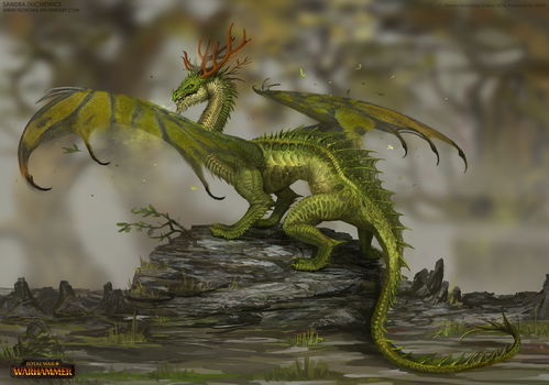 Total War: Warhammer Concept Art - Forest Dragon by telthona