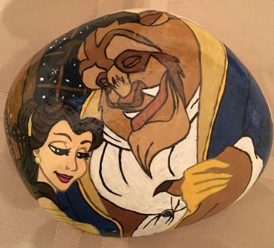 Painted Rock - Beauty and the Beast by starfiregal92