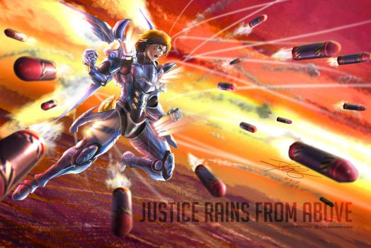 Pharah - Overwatch :  JUSTICE RAINS FROM ABOVE by Ravis
