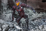 Mech Android Warrior in Ruined City 3d by cytherina