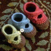 crochet Double Strap Booties by sylver-designs