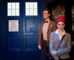 With The Doctor and TARDIS by StellaVD