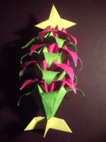 Origami Iris Christmas Tree by Heyro0