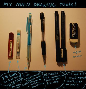 my main drawing tools by nocturnalMoTH