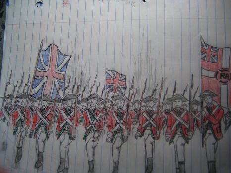 Marching British RedCoats by kalnaf