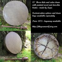15 inch plain horse hide frame drum by lupagreenwolf